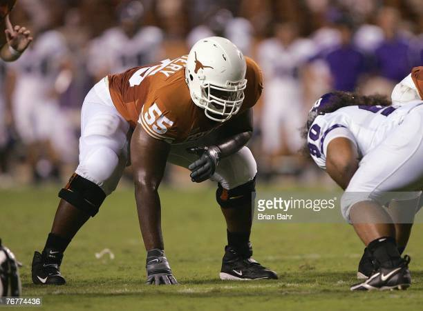 Offensive guard Cedric Dockery of the Texas Longhorns lines up in position during their game against the TCU Horned Frogs on September 8 2007 at...