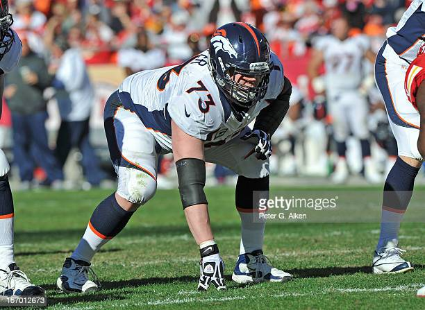 Offensive guard Chris Kuper of the Denver Broncos gets set on the line against the Kansas City Chiefs during the first half on November 25 2012 at...