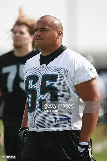 Offensive guard Chris Naeole of the Jacksonville Jaguars looks on during mini camp at Alltel Stadium practice facililty on May 12 2007 in...