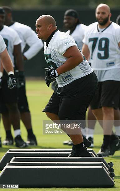 Offensive guard Chris Naeole of the Jacksonville Jaguars works out during mini camp at Alltel Stadium practice facililty on May 12 2007 in...