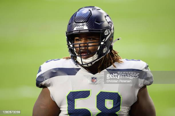 Offensive guard Damien Lewis of the Seattle Seahawks during the NFL game against the Arizona Cardinals at State Farm Stadium on October 25, 2020 in...