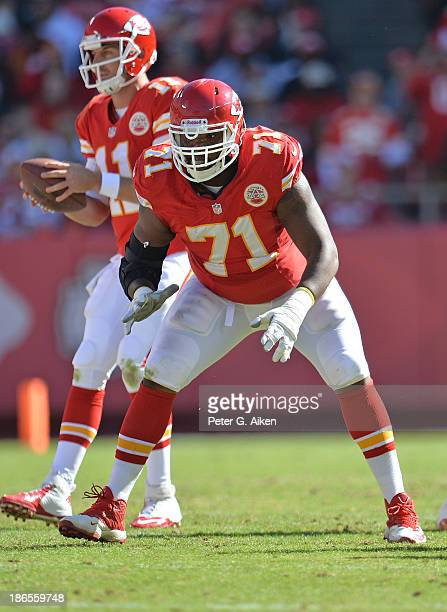 Offensive guard Jeff Allen of the Kansas City Chiefs gets set on the line against the Cleveland Browns during the first half on October 27 2013 at...