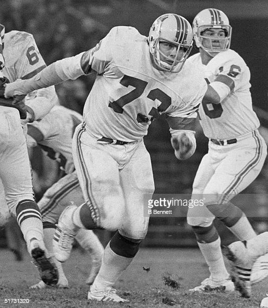 Offensive guard John Hannah of the New England Patriots runs on the field during a game circa 19731985
