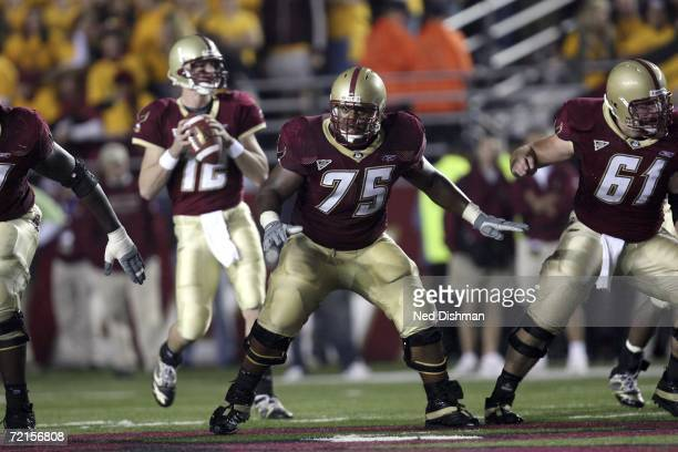 Offensive guard Josh Beekman of the Boston College Eagles looks to make a block against the Virginia Tech Hokies at Alumni Stadium on October 12 2006...
