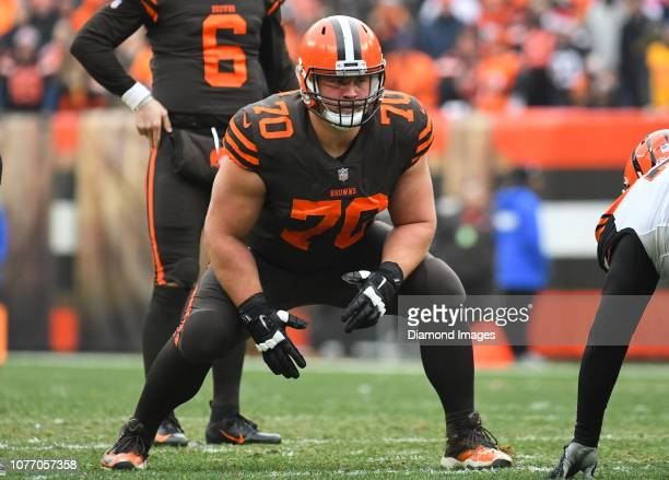 Offensive guard Kevin Zeitler of the Cleveland Browns awaits the snap in the second quarter of a game against the Cincinnati Bengals on December 23...