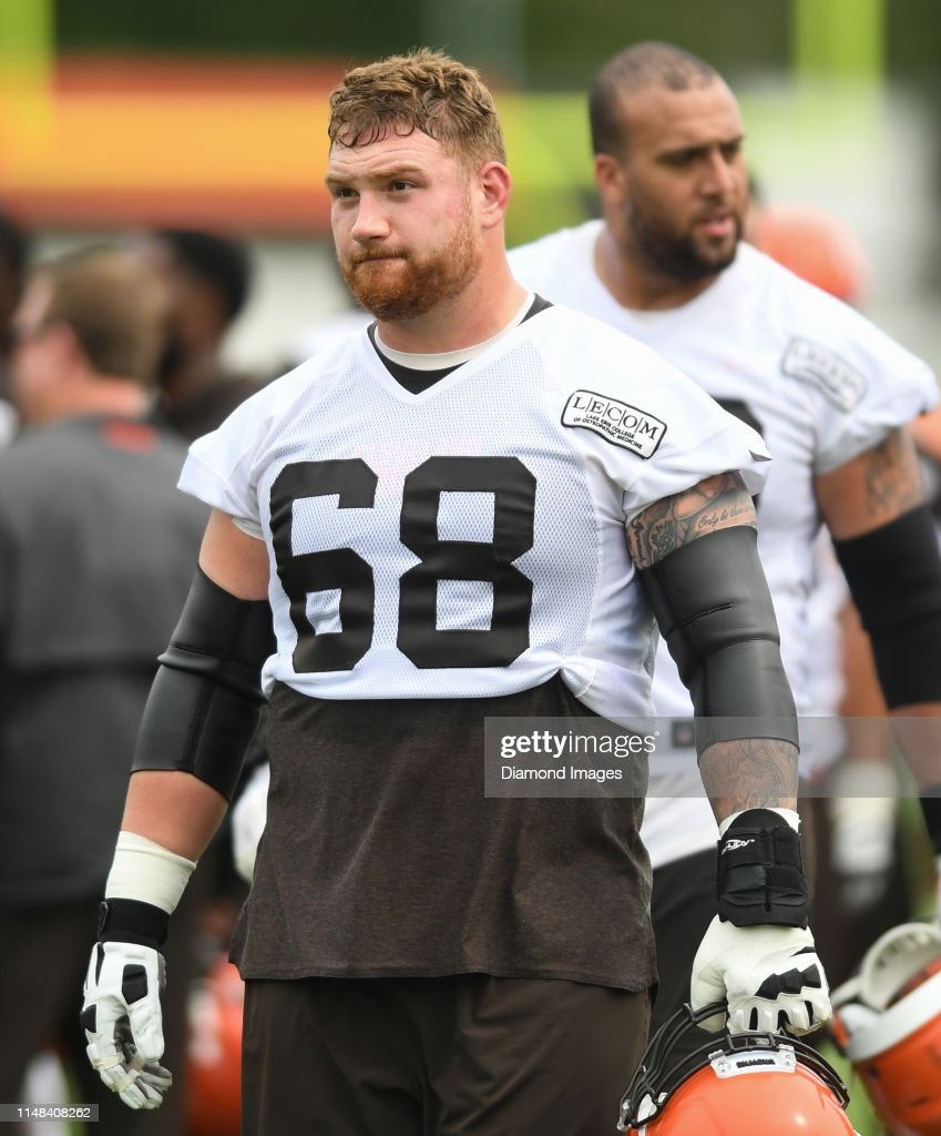 the best attitude 96563 e6e5e Offensive guard Kyle Kalis of the Cleveland Browns walks off ...