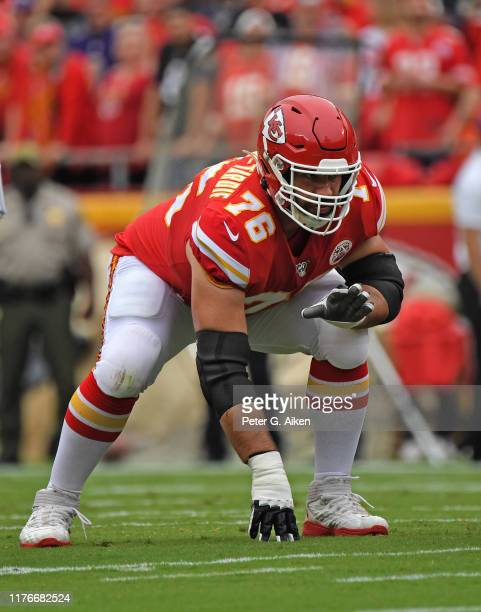 Offensive guard Laurent DuvernayTardif of the Kansas City Chiefs gets set on offense against the Baltimore Ravens during the first half at Arrowhead...