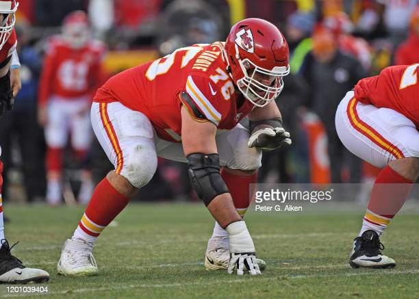 Offensive guard Laurent DuvernayTardif of the Kansas City Chiefs gets set on the line before a play in the second half against the Tennessee Titans...