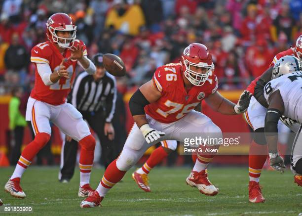Offensive guard Laurent DuvernayTardif of the Kansas City Chiefs gets set on the line against the Oakland Raiders during the second half at Arrowhead...