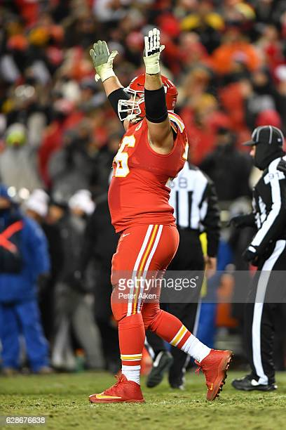 Offensive guard Laurent DuvernayTardif of the Kansas City Chiefs celebrates after the Chiefs sealed the game against the Oakland Raiders on a first...