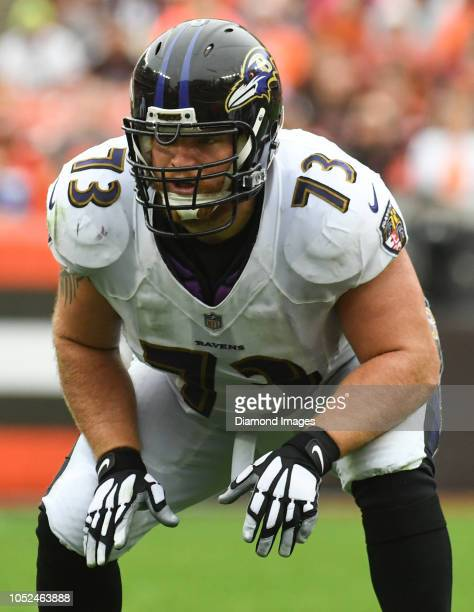 Offensive guard Marshal Yanda of the Baltimore Ravens awaits the snap in the second quarter of a game against the Cleveland Browns on October 7 2018...
