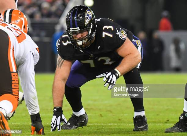 Offensive guard Marshal Yanda of the Baltimore Ravens awaits the snap in the second quarter of a game against the Cleveland Browns on December 30...