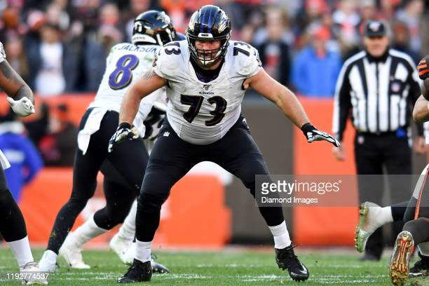 Offensive guard Marshal Yanda of the Baltimore Ravens in action in the fourth quarter of a game against the Cleveland Browns on December 22 2019 at...