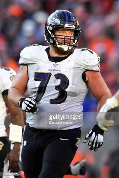 Offensive guard Marshal Yanda of the Baltimore Ravens on the field in the fourth quarter of a game against the Cleveland Browns on December 22 2019...