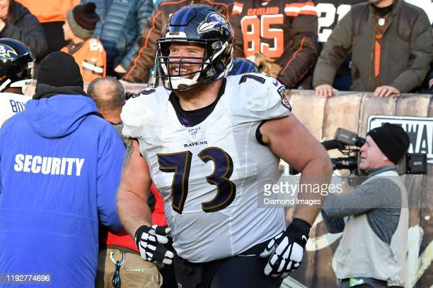 Offensive guard Marshal Yanda of the Baltimore Ravens runs off the field after an 18yard touchdown by running back Justice Hill in the fourth quarter...