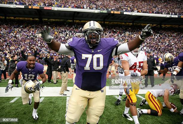 Offensive guard Morgan Rosborough of the Washington Huskies celebrates as time expires against the USC Trojans on September 19, 2009 at Husky Stadium...