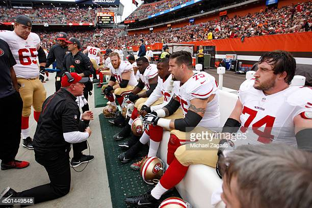 Offensive Line Coach Chris Foerster of the San Francisco 49ers talks with Erik Pears Andrew Tiller Marcus Martin Alex Boone ad Joe Staley on the...