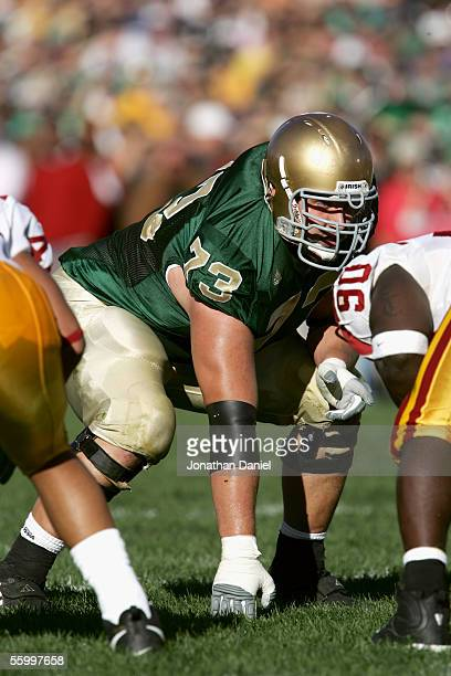 Offensive line Mark LeVoir of the University of Notre Dame Fighting Irish waits for the snap during the game against the University of Southern...