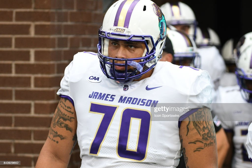 huge discount bf179 2e95a Offensive lineman Aaron Stinnie of the James Madison Dukes ...