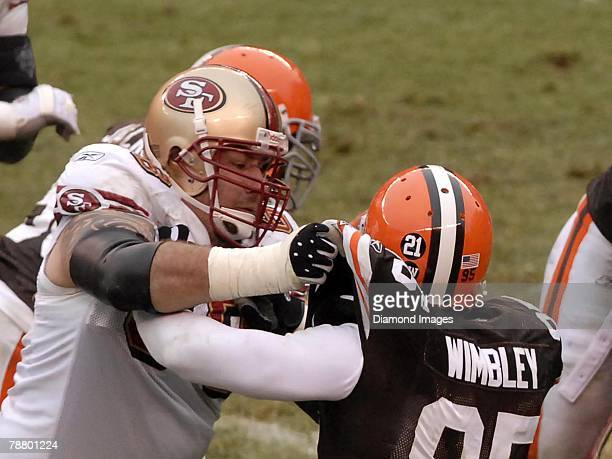 Offensive lineman Adam Snyder of the San Francisco 49ers blocks linebacker Kamerion Wimbley of the Cleveland Browns during a game on December 30 2007...