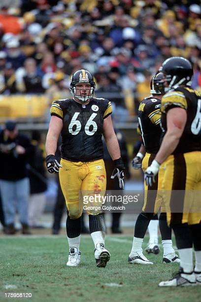 Offensive lineman Alan Faneca of the Pittsburgh Steelers looks on from the field during a game against the Baltimore Ravens at Heinz Field on...