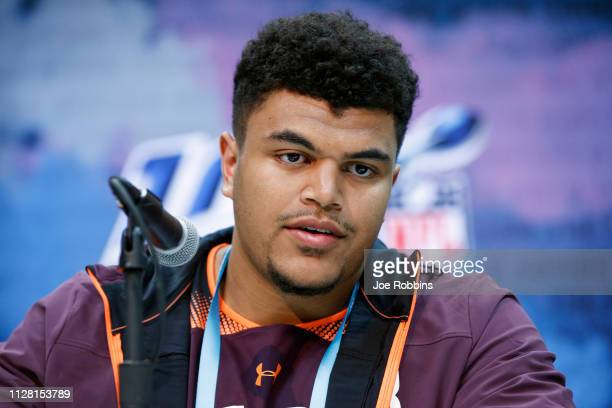 Offensive lineman Andre Dillard of Washington State speaks to the media during day one of interviews at the NFL Combine at Lucas Oil Stadium on...