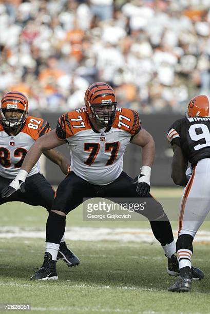 Offensive lineman Andrew Whitworth of the Cincinnati Bengals blocks against the Cleveland Browns at Cleveland Browns Stadium on November 26, 2006 in...