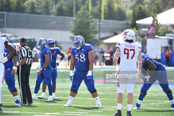 Offensive lineman Api Mane of the Kansas Jayhawks in action against the Rutgers Scarlet Knights at Memorial Stadium on September 15 2018 in Lawrence...