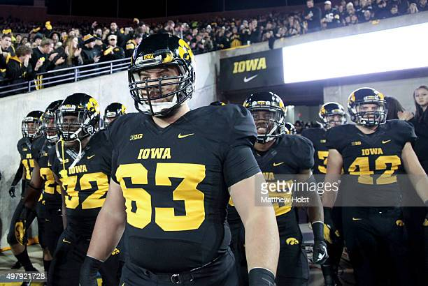 Offensive lineman Austin Blythe of the Iowa Hawkeyes waits to take the field before the matchup against the Minnesota Gophers on November 14 2015 at...