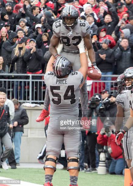 Offensive lineman Billy Price of the Ohio State Buckeyes and wide receiver Terry McLaurin of the Ohio State Buckeyes celebrate a touchdown during the...