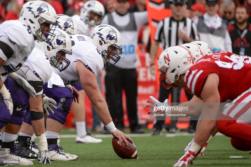 Offensive lineman Brad North #69 of the Northwestern Wildcats prepares to snap the ball against the Nebraska Cornhuskers at Memorial Stadium on November 4, 2017 in Lincoln, Nebraska.