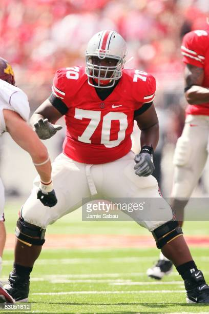 Offensive lineman Bryant Browning of the Ohio State Buckeyes blocks against the Minnesota Golden Gophers on September 27 2008 at Ohio Stadium in...