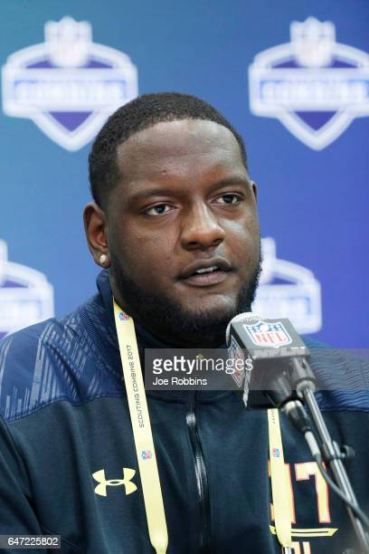 Offensive lineman Cam Robinson of Alabama answers questions from the media on Day 2 of the NFL Combine at the Indiana Convention Center on March 2...