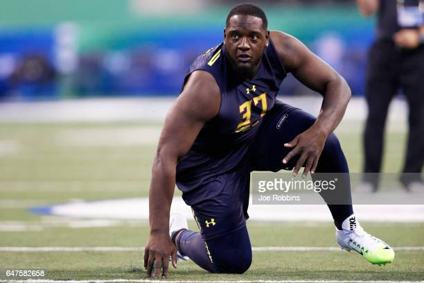 Offensive lineman Cam Robinson of Alabama runs a drill during day three of the NFL Combine at Lucas Oil Stadium on March 3 2017 in Indianapolis...