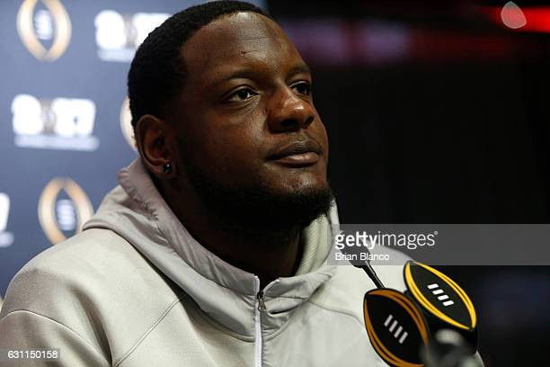 Offensive lineman Cam Robinson of the Alabama Crimson Tide speaks to the media during the College Football Playoff National Championship Media Day on...