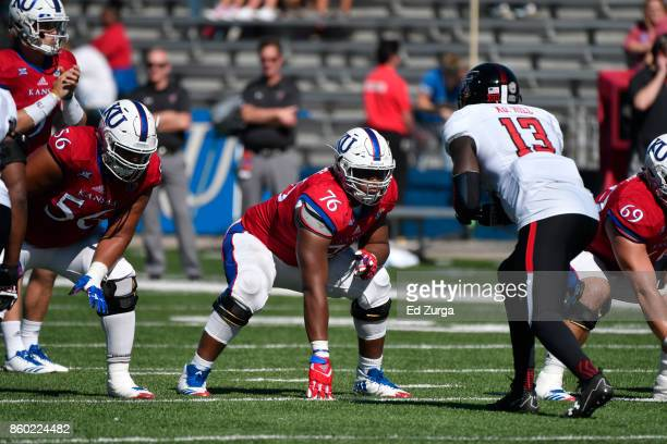 Offensive lineman Chris Hughes of the Kansas Jayhawks against the Texas Tech Red Raiders at Memorial Stadium on October 7 2017 in Lawrence Kansas