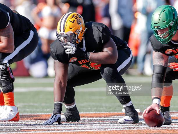 Offensive Lineman Damien Lewis from LSU of the South Team during the 2020 Resse's Senior Bowl at Ladd-Peebles Stadium on January 25, 2020 in Mobile,...