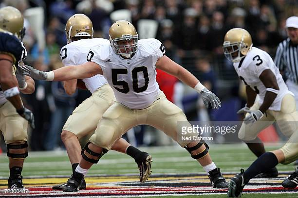 Offensive lineman Dan Santucci of the Notre Dame Fighting Irish looks to block against the Navy Midshipmen on October 28 2006 at MT Bank Stadium in...