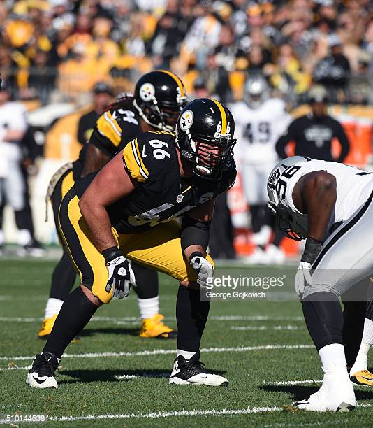 Offensive lineman David DeCastro of the Pittsburgh Steelers looks on from the line of scrimmage during a game against the Oakland Raiders at Heinz...