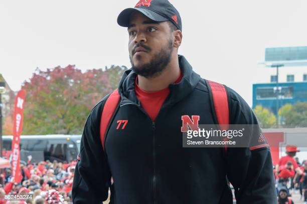 Offensive lineman David Knevel of the Nebraska Cornhuskers arrives at the stadium before the game against the Ohio State Buckeyes at Memorial Stadium...