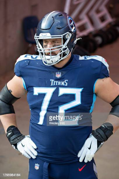 Offensive lineman David Quessenberry of the Tennessee Titans looks out into the stadium before their AFC Wild Card Playoff game against the Baltimore...