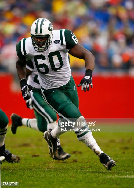 Offensive Lineman D'Brickashaw Ferguson of the New York Jets in action against the New England Patriots at Gillette Stadium on November 11, 2006 in...