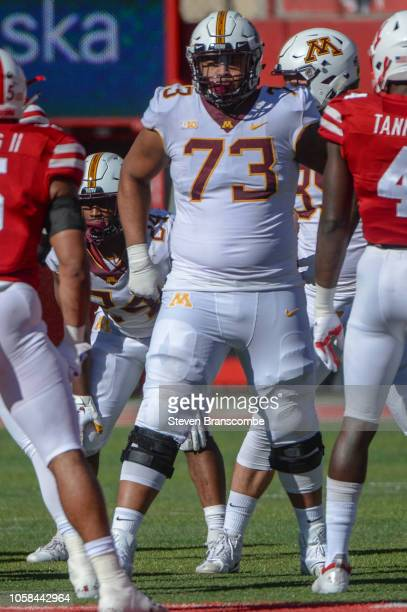 Offensive lineman Donnell Greene of the Minnesota Golden Gophers prepares for the snap in the game against the Nebraska Cornhuskers at Memorial...