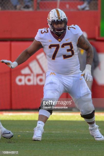 Offensive lineman Donnell Greene of the Minnesota Golden Gophers in action against the Nebraska Cornhuskers at Memorial Stadium on October 20 2018 in...