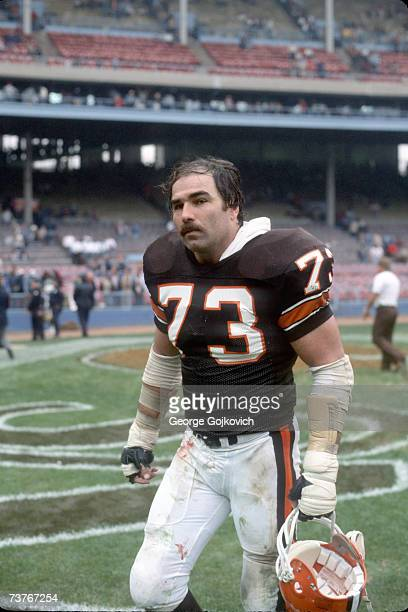 Offensive lineman Doug Dieken of the Cleveland Browns walks off the field after a game at Municipal Stadium in 1984 in Cleveland Ohio