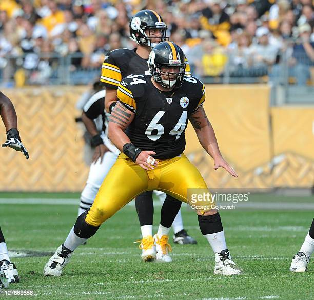 Offensive lineman Doug Legursky of the Pittsburgh Steelers blocks as quarterback Ben Roethlisberger drops back to pass during a game against the...