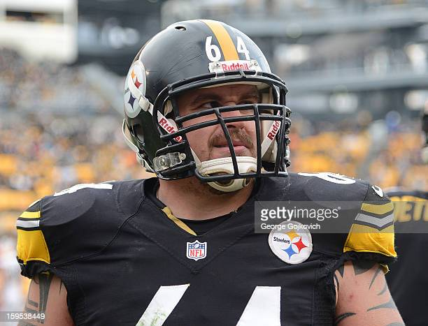 Offensive lineman Doug Legursky of the Pittsburgh Steelers looks on from the sideline during a game against the Cleveland Browns at Heinz Field on...