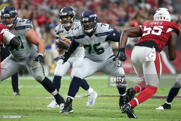 Offensive lineman Duane Brown of the Seattle Seahawks during an NFL game against the Arizona Cardinals at State Farm Stadium on September 30 2018 in...