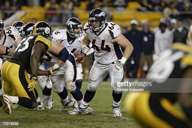 Offensive lineman Erik Pears of the Denver Broncos blocks against the Pittsburgh Steelers at Heinz Field on November 5 2006 in Pittsburgh...