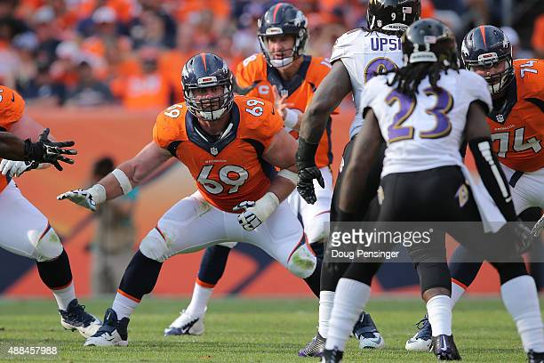Offensive lineman Evan Mathis of the Denver Broncos defends the line of scrimmage against the Baltimore Ravens at Sports Authority Field at Mile High...